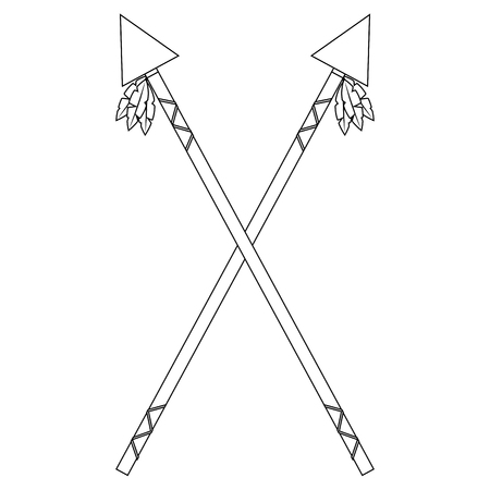 Spears crossed weapon ancient traditional icon image vector illustration design Illustration