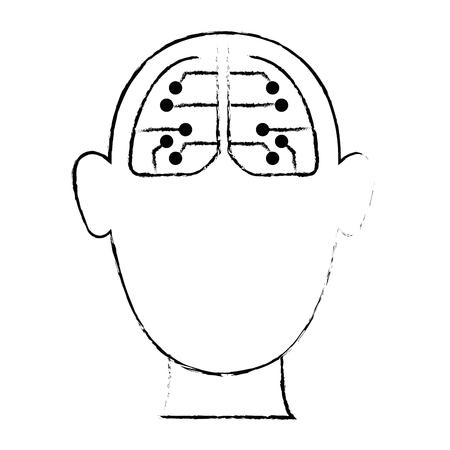 Human avatar with electrical circuit vector illustration design Çizim