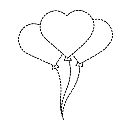 Heart balloons valentines day related icon image vector illustration design black dotted line 向量圖像