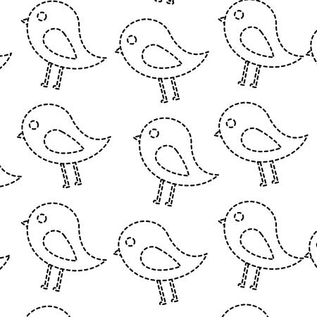 鳥漫画パターン画像ベクトルイラストデザイン黒点線  イラスト・ベクター素材