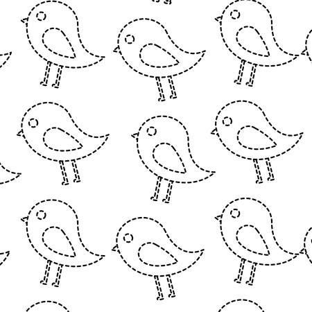 Bird cartoon pattern image vector illustration design black dotted line Ilustração