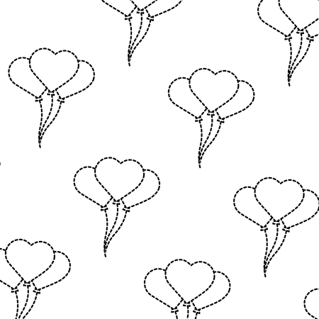 Heart balloons valentines day related pattern image vector illustration design black dotted line Ilustrace