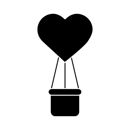 Hot air balloon with heart for  valentines day related icon image vector illustration design black and white
