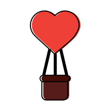 Hot air balloon with heart valentines day related icon image vector illustration design