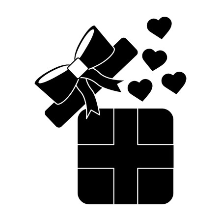 Gift box with hearts valentines day related icon image vector illustration design black and white