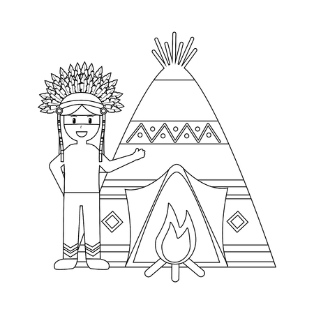 Teepee home for native american icon image vector illustration design Ilustrace