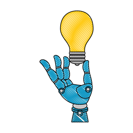 A robot hand humanoid holding a light bulb, isolated  vector illustration design