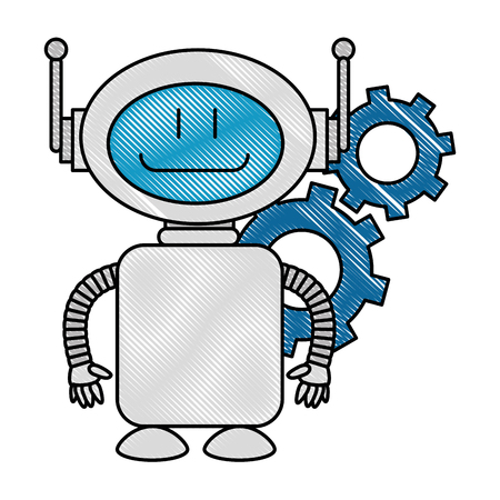 Technological robot with gears character icon vector illustration design