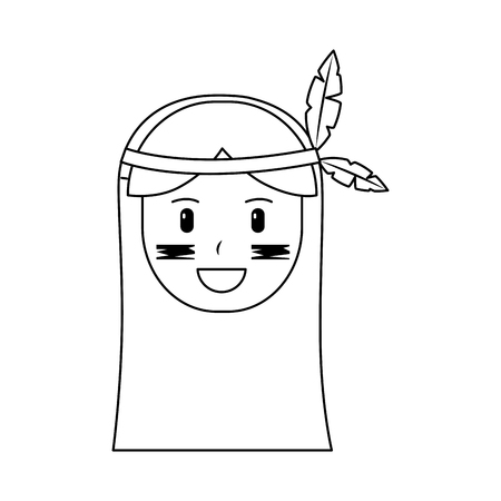 Happy native american person icon image vector illustration design 일러스트