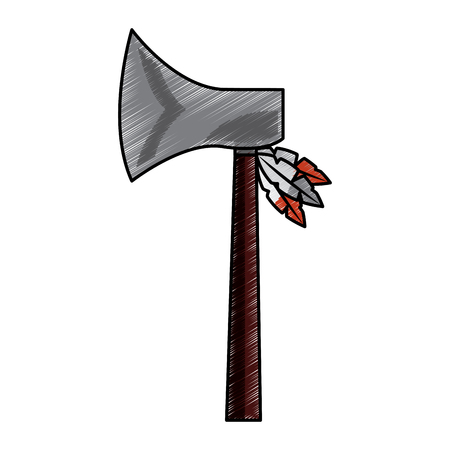 Hatchet weapon ancient traditional icon image vector illustration design Illustration