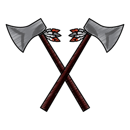 Hatchets crossed weapon ancient traditional icon image vector illustration design Standard-Bild - 96760635