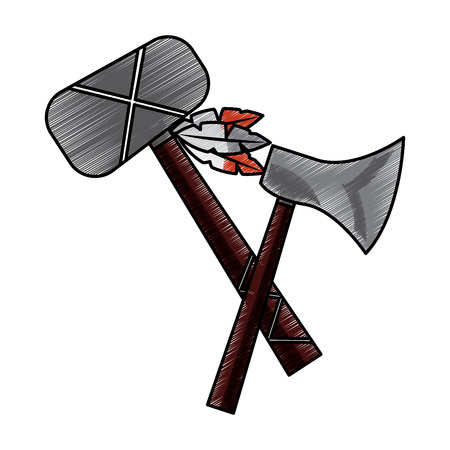 Hatchet war club weapon ancient traditional icon image vector illustration design