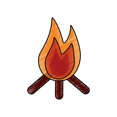 Bonfire logs and fire icon image vector illustration design