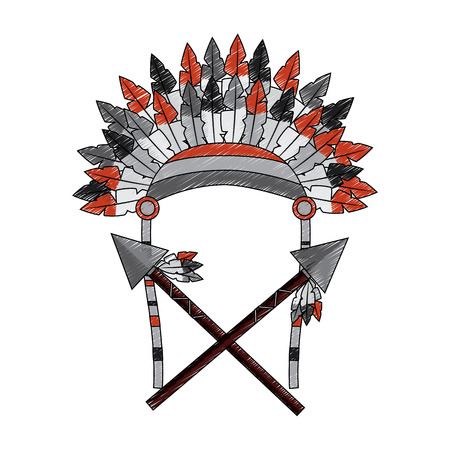 Headdress of native american icon image vector illustration design Illustration