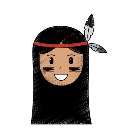 Happy native american person icon image vector illustration design  イラスト・ベクター素材