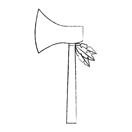 도끼 무기 고 대 전통 아이콘 이미지 벡터 일러스트 레이 션 디자인 스톡 콘텐츠 - 96761035