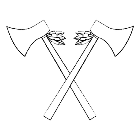 Hatchets crossed weapon ancient traditional icon image vector illustration design Stock Vector - 96761034