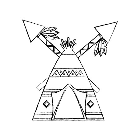 Teepee home with spear native american icon image vector illustration design  イラスト・ベクター素材