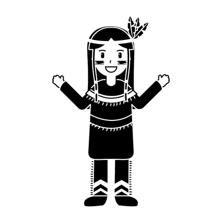 Happy native american person icon image vector illustration design black and white