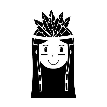Happy native american person icon image vector illustration design black and white