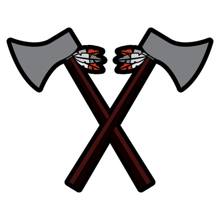 hatchets crossed weapon ancient traditional icon image vector illustration design Illustration