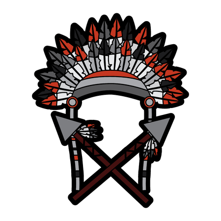 headdress with spears native american icon image vector illustration design Illustration