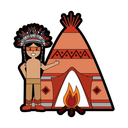 Tipi home with person native american icon image vector illustration design Ilustrace