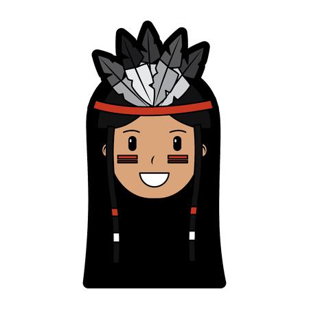 Happy native american person icon image vector illustration design Illustration