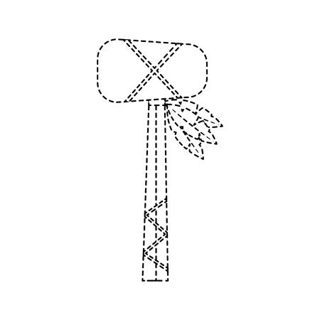 戦争クラブ武器古代伝統的なアイコン画像ベクトルイラストデザイン黒い点線