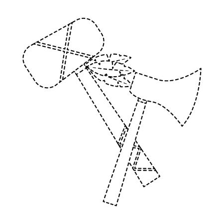 Hatchet war club weapon ancient traditional icon image vector illustration design black dotted line Illustration