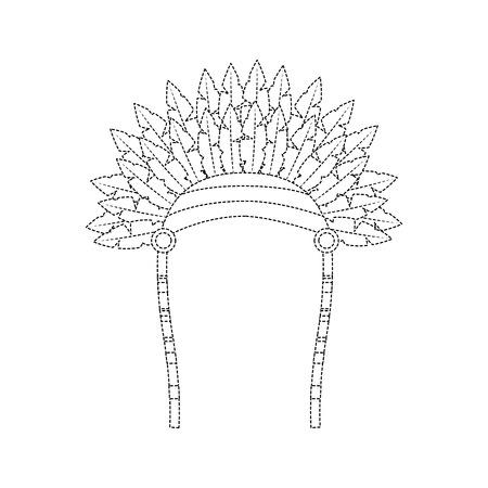 headdress native american icon image vector illustration design black dotted line