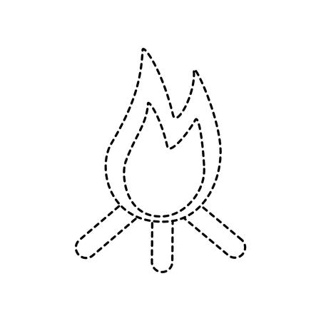 bonfire logs fire icon image vector illustration design black dotted line Illustration