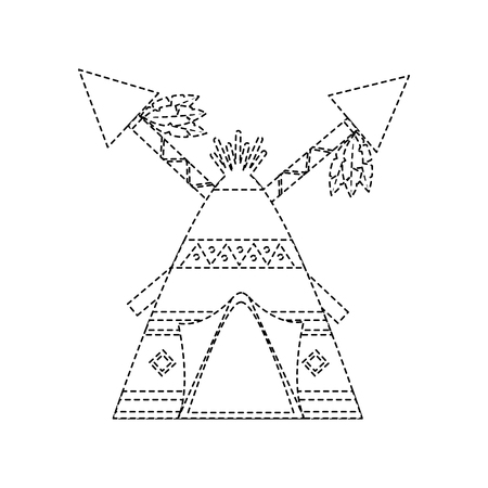 Tipi home native american icon image vector illustration design black dotted line 스톡 콘텐츠 - 96589206