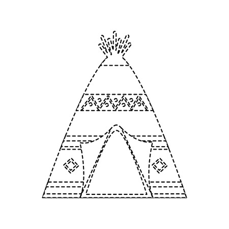 teepee home native american icon image vector illustration design black dotted line  イラスト・ベクター素材