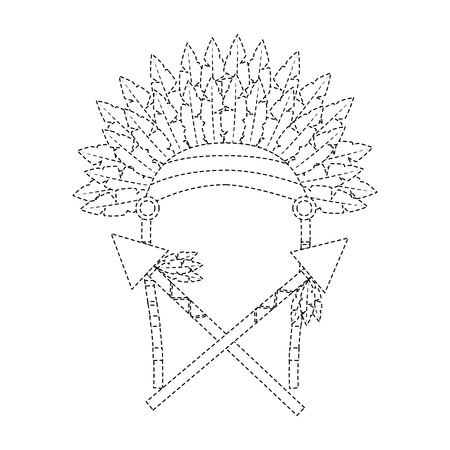 headdress with spears native american icon image vector illustration design  black dotted line