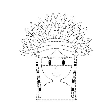Happy native american person icon image vector illustration design black dotted line