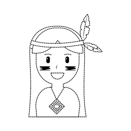 happy native american person icon image vector illustration design black dotted line Illustration