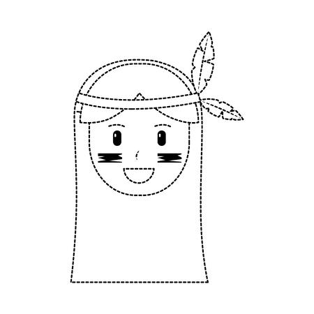 Happy native american person icon image vector illustration design black dotted line