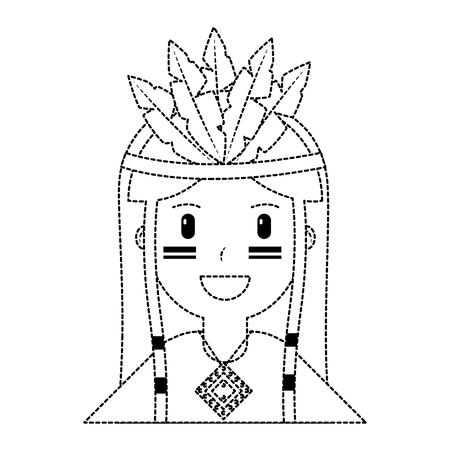 happy native american person icon image vector illustration design black dotted line Illusztráció