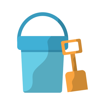 bucket and shovel beach toys icon image vector illustration design