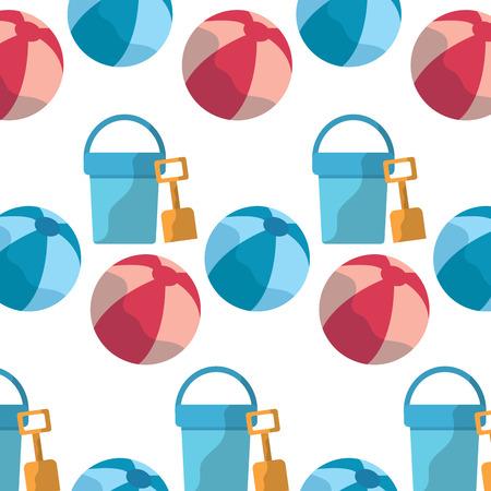 bucket shovel ball beach pattern image vector illustration design