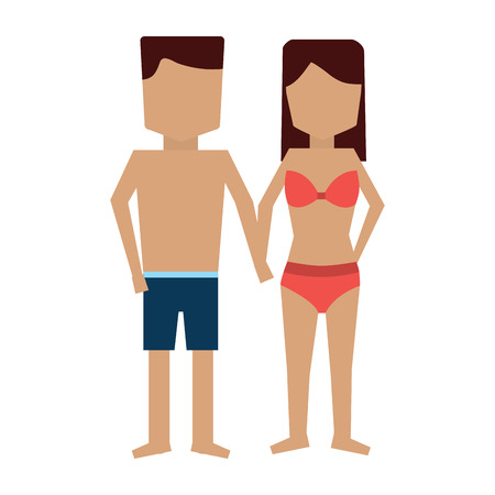 woman and man in bathing suits icon image vector illustration design