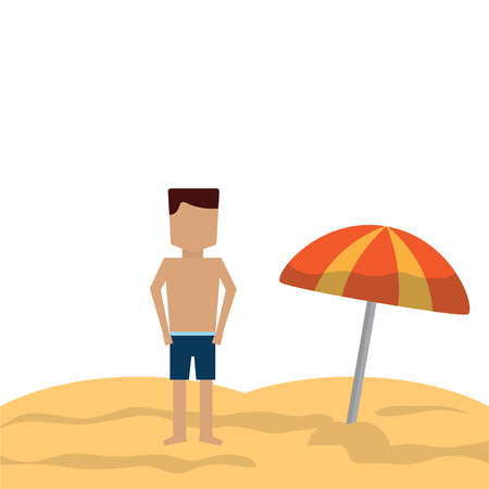 man in the beach icon image vector illustration design