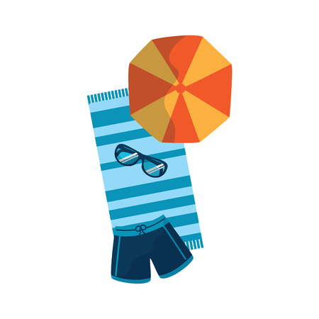 towel parasol trunks glasses beach icon image vector illustration design Illusztráció