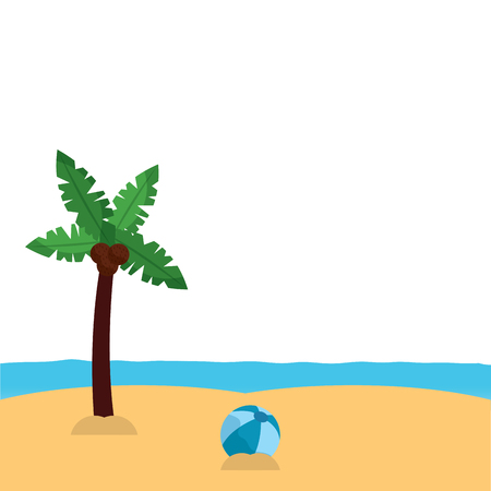 palm tree ball sea sand beach landscape icon image vector illustration design Illusztráció
