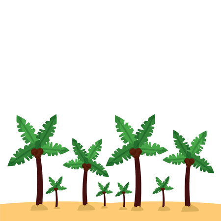 palm trees sand beach landscape icon image vector illustration design Illusztráció