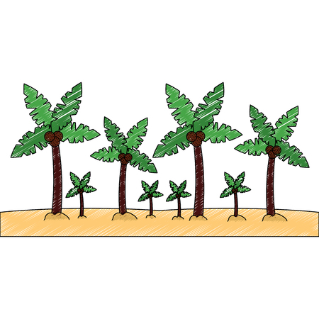 palm trees sand beach landscape icon image vector illustration design sketch style Illusztráció