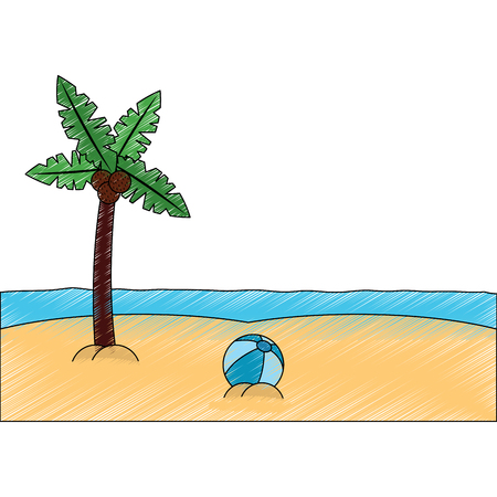 palm tree ball sea sand beach landscape icon image vector illustration design sketch style