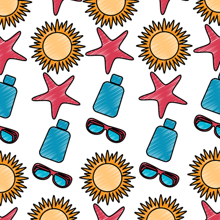 sun starfish sunscreen glasses beach pattern image vector illustration design sketch style