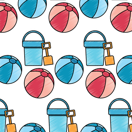 bucket shovel ball beach pattern image vector illustration design sketch style Illusztráció